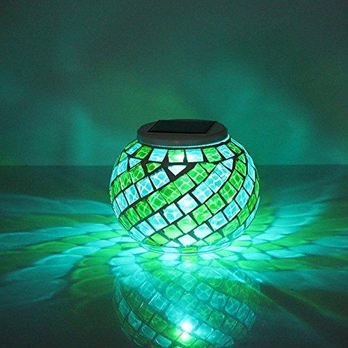 Redlution Solar Tischleuchte RGB Farbwechsel LED Solarlampe Nachtlicht Mosaik Lampe Wasserdichte Solar Leuchte für Garten, Patio, Tabelle, Zimmer (Gelb&Blau)