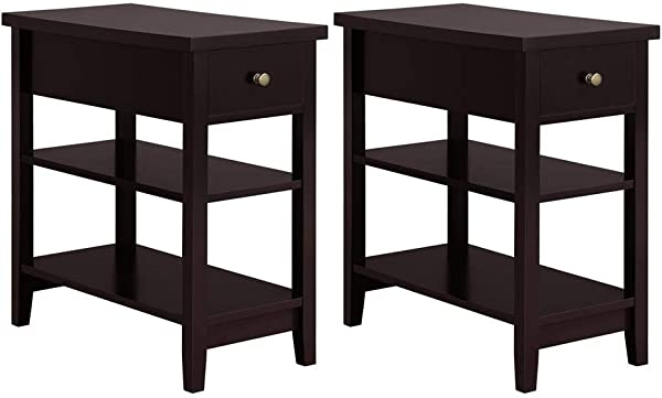 Yaheetech 3 Tier Sofa Side End Table With Double Shelves 1 Drawer Nightstand Coffee Table For Living Room Set Of 2 Espresso
