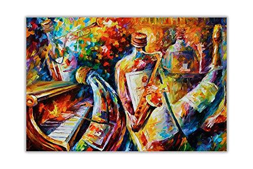 HYFBH Leinwand Wandkunst Druck Abstrakte Flasche Jazz Musiker Leonid Afremov Leinwand Malerei Moderne Wohnkultur Wandkunst Bilder 70x100cm (27,6x39,4 Zoll) Kein Rahmen