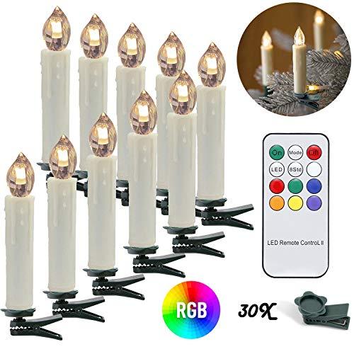 wolketon LED Weihnachtskerzen 30 Stücke Warmweiß und RGB LED Kerzen, Flammenlose, LED Christbaumkerzen mit Timer, Beige