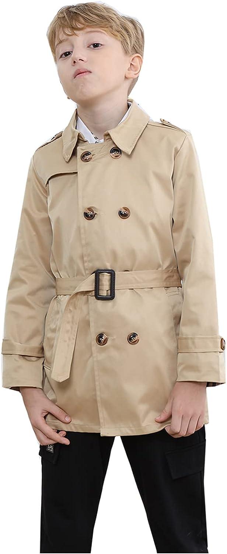 Deeorla Kids Boys Girls Trench Coat Cotton Windbreaker Jacket Children Outwear 1-9Years