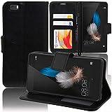 ANNART - Funda para Huawei P8lite ALE-L21/ P8 Lite ALE-L04, funda tipo libro con tapa para Huawei P8lite ALE-L21/ P8 Lite ALE-L04 – Negro