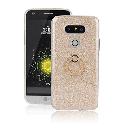 tinyue® Funda para LG G5 / LG G5 SE, Glitter Funda de Silicona TPU Suave Ultrafina Cubierta de protección Golpes con Anillo de Metal Hebilla de Concha, Dorado