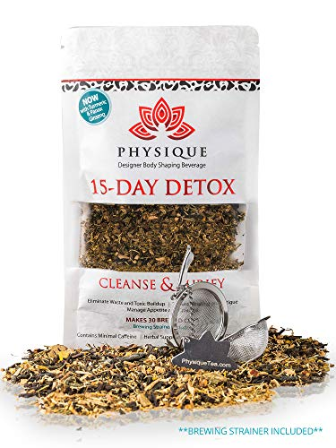 15 Day Natural Weight Loss Detox Tea | Bloating Relief Total Tea for Best Appetite Suppressant Cleanse & Teatox | Fitness Slimming | No Laxative Senna or Pills | Free Diet Included | BONUS STRAINER
