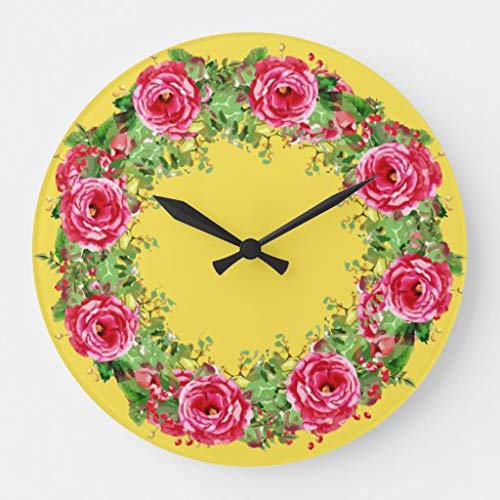 Scott397House Floral Botanical Roses Pattern Large Wall Clocks for Off