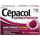 Cepacol Extra Strength Sore Throat & Cough Relief Lozenges, 16 Count, Mixed Berry Flavor, Maximum Numbing, Fast Acting Relieves Sore Throat Pain, and Quiets Cough (Pack of 4)