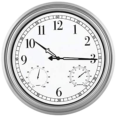 YUMTIM 16 Inch Large Indoor Outdoor Waterproof Wall Clock with Thermometer and Hygrometer Combo,Non-Ticking Clock Battery Operated Clock Wall Decorative,Tin