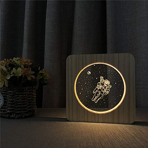 Only 1 Piece Space Astronaut 3D USB LED Acrylic Night Lamp Table Lamp Switch Control Childrens Room Decoration Carving Lamp