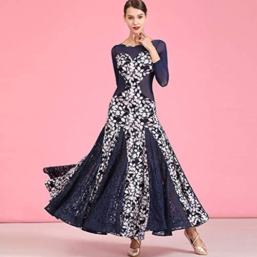XIUWOUG Navy blau Gedruckt Modernes Tanzkleid Ballsaal-Kleid Walzer Tango-Übungs Tanz Abnutzung Social Dance Trainingsrock Plissee Schaukel Spitzennähen Stretchige Kleidung