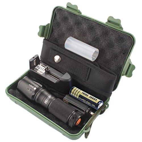 Internet Probe Shiny 5000 Lumens Tactical LED CREE XM-L T6 Lampe de Poche de Police X800 Zoom Super Bright étanche Titulaire Torche 5 Modes+Batterie 18650(1pcs)+Chargeur Unique+Pochette en Nylon+Étui