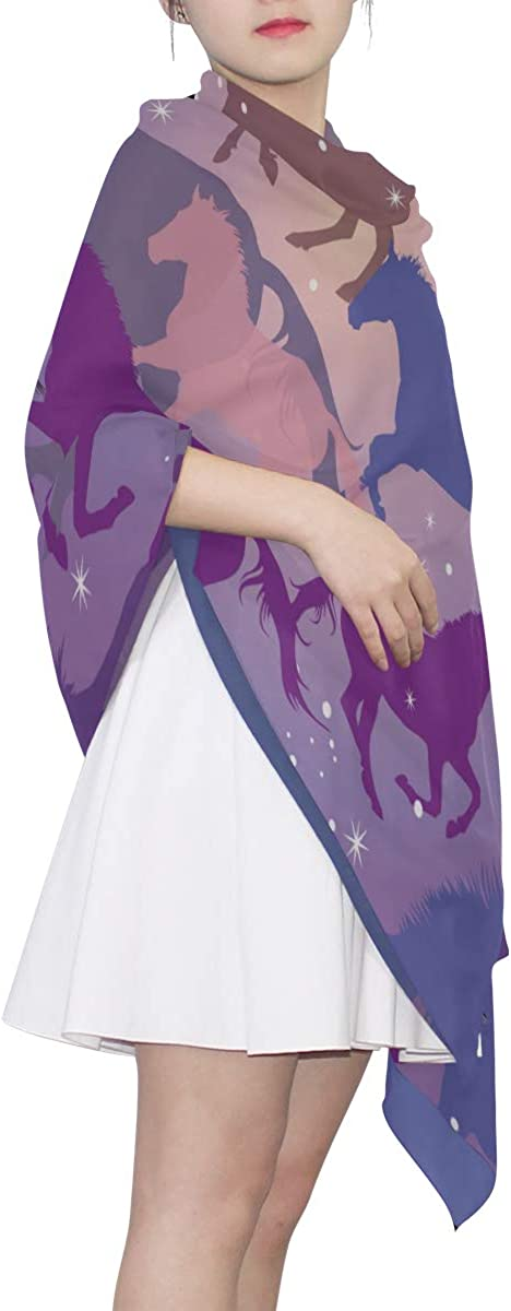 Hiking Scarf Women Colorful Horses And Sparks On Purple Lightweight Polyester Scarf Shawls And Wraps Warm Lightweight Print Scarves Fashion Scarf For Women Light Scarf