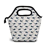 Lunch Bags For Women Men Cute Whale Lunch Box Tote Insulated Reusable Leakproof Cooler Shoulder Strap Lunch Pail Container