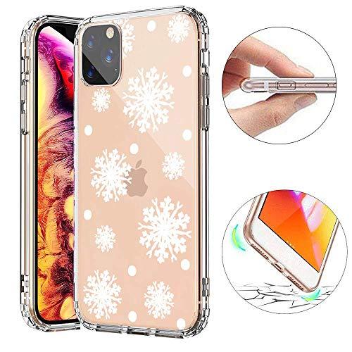 SevenPanda für iPhone 11 Hülle, TPU Silikon Hülle Schutz Etui Hülle für iPhone 11 6.1 Zoll Durchsichtig mit Christmas Snowflake Muster Handyhülle - Weißen Schneeflocke