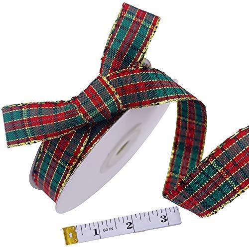 "5/8"" Christmas Ribbons Xmas Plaid Ribbons Craft Ribbon Checked Ribbon Bows Wrapping Ribbons with Measuring Tape for Christmas Party Decoration (25 Yards)"