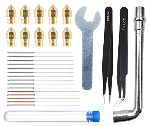HAWKUNG 29pcs 3D Printing Tool Kit, 10pcs 0.4mm Nozzle + 15pcs Cleaning Needle (10 x 0.35mm + 5 x 0.4mm) + 2pcs Tweezers + 2pcs Spanner for 3D Printer MK8 Nozzle Replacement, Clean, Installation
