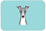Caroline's Treasures BB1174MP Checkerboard Blue Italian Greyhound Mouse Pad, Hot Pad or Trivet, Large, Multicolor