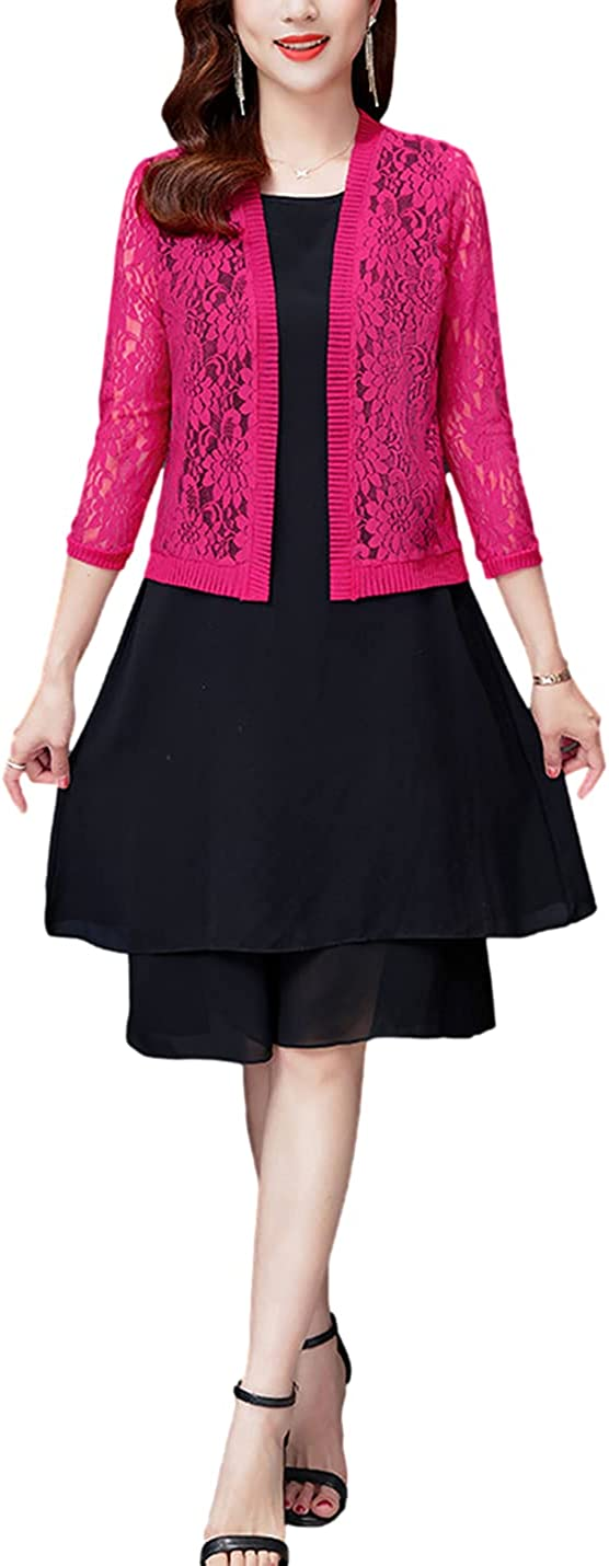 Omoone Women's Casual Long Sleeved Lace Crochet Cardigan Open Front Cover Up Shrug