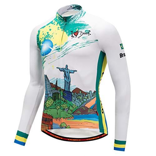 CYCOBYCO Ciclismo Maglia Manica Lunga Uomo Giacca Invernale Termico Imbottito Pantaloni Pantaloni Pantaloni, Uomo, Giacca Brasile, L