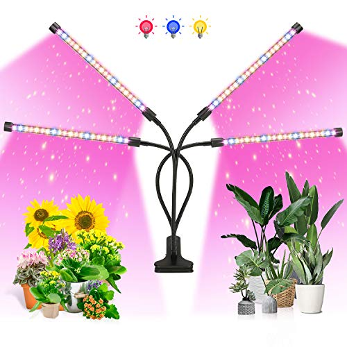 Ankace LED Growth Light,80W Four Head Timing,5 Dimmable Levels, Plant Grow Light for Indoor Plant with Full Spectrum & Red Blue Spectrum,Adjustable Goosencck, 3、6/12H Timer, 3 Switch Modes