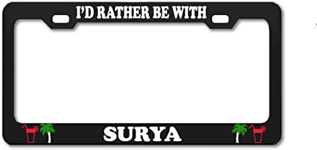 Product Express I'd Rather BE with Surya Black Front Back Tag Auto Exterior Accessory Boy Girl Name