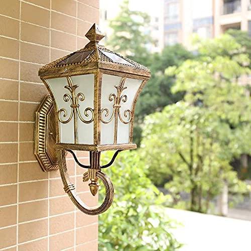 WRMING LED Lámpara de Pared Exterior con Sensor Crepuscular, Vintage Apliques de Pared Solar Jardín con Control Remoto Regulable, IP65 Impermeable, Aluminio Linternas de Exterior,Bronce,44cm