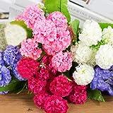 Ogquaton 9 têtes de bouquet de hortensias artificiels Accueil Mariage Faux fleurs de mariée en soie - Jaune Rentable et de bonne qualité