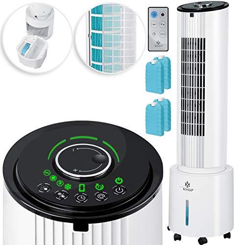 KESSER® 4in1 Mobile Klimalage TURM Klimagerät Ventilator/Luftkühler/Luftbefeuchter/Ionisator, mit Fernbedienung, 6L Wassertank, 45 W, 500 m³/h Luftdurchsatz, Klima, Weiß