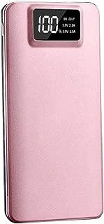 モバイルバッテリー 20000mAh 大容量 iPhone/iPad/Android/対応 USB スマホ 充電器 携帯充電器 2.1A 2ポート 急速充電 バッテリー (ピンク)