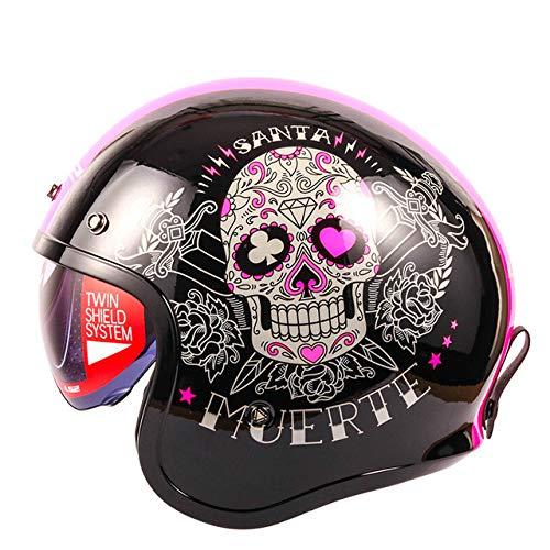 MYSdd Retro-Motorradhelm-Modedesign Retro-Helm mit Schaumstoffschnalle, abnehmbaren Ohrpolstern, eingebautem Objektiv, Sonnenschutz und Staubschutz - PinkX L