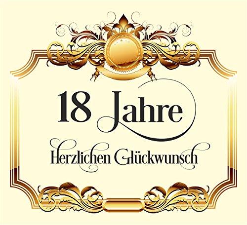 RAHMENLOS 10 St. Aufkleber Original Design: Selbstklebendes Flaschen-Etikett zum 18. Geburtstag: Herzlichen Glückwunsch!