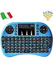 Rii Mini i8+ - Mini teclado inalámbrico (disposición de teclas italiana), retroiluminado, con panel táctil para smart TV, mini PC, HTPC, consola y ordenador. i8+ Wireless (BLU)