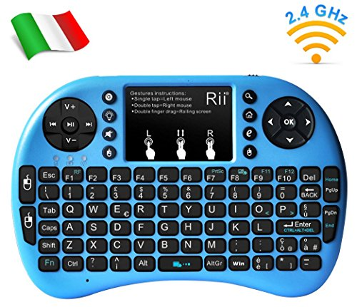Rii, Mini i8+, Wireless-Mini-Tastatur mit Mouse-Touchpad und Hintergrundbeleuchtung für Smart TV, Mini PC, HTPC, Konsole, Computer (italienisches Layout) i8+ Wireless (BLU)