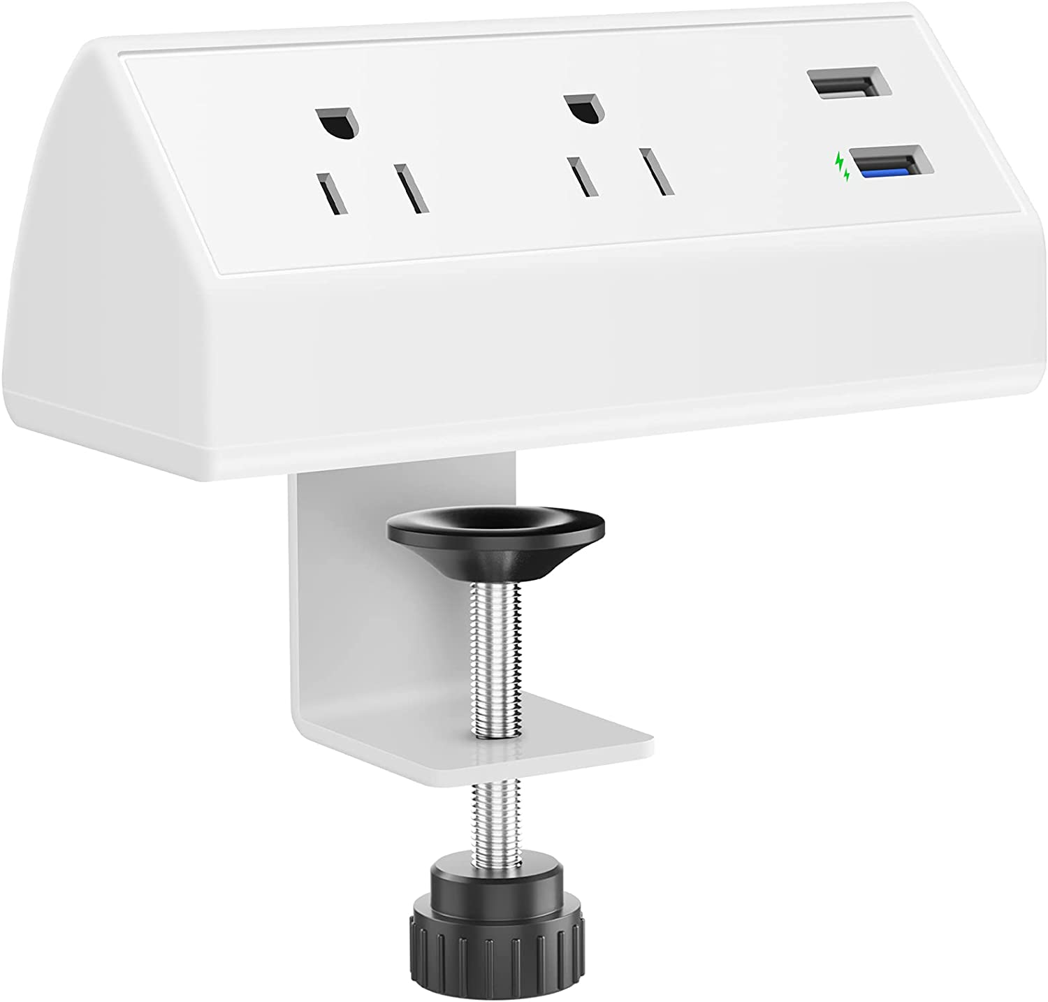 CCCEI Fast Charging Desk Clamp Power Strip, QC3.0 USB Port, 500J Surge Protector on Desktop Mount Power Strip, Fit 1.6 inch Tabletop Edge Thick. (White).
