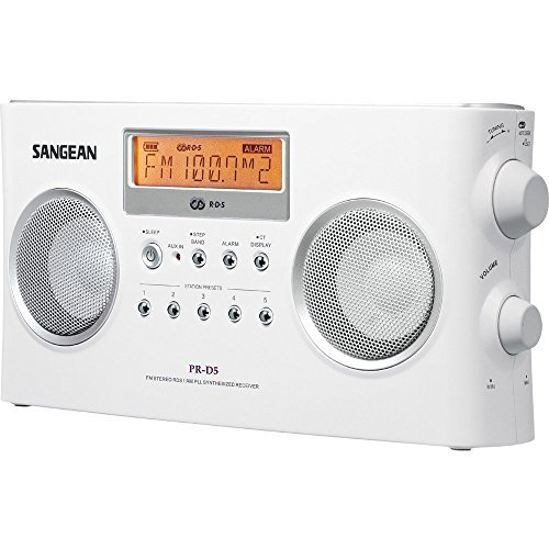 Sangean All in One Compact Portable Digital AM/FM Radio with Built-in Stereo Speaker, Earphone Jack, Alarm Clock Plus 6ft Aux Cable to Connect Any Ipod, Iphone or Mp3 Digital Audio Player