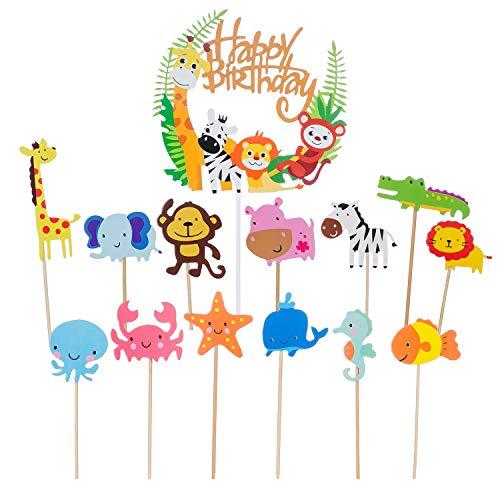 53 Stück Geburtstag Kuchendeckel Topper Kuchen Dekoration süßer Zoo/Ozean Themed Tier Löwe AFFE Giraffe Zebra Form Kuchendeckel für Kinder Party Geburtstag Baby Duschen Hochzeit Party Zubehör