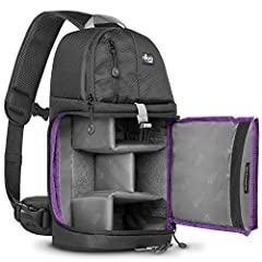 ADJUSTABLE PADDED DIVIDERS: Main compartment has sturdy, padded, adjustable dividers. Holds DSLR cameras with a standard zoom lens. QUICK ACCESS SIDE OPENING: Main compartment has convenient zippered side opening. PADDED SLING STRAP ROTATES TO FRONT:...