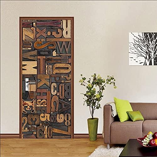 IDWX Pegatinas 3D para puerta, alfanuméricos para puerta, se pueden utilizar para decoración de puertas de dormitorio y sala de estar, 77 x 200 cm