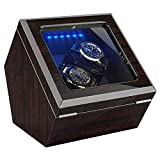 High End Double Watch Winder for Rolex with Soft Flexible Watch Pillows, Blue Led Light, Open and Shut Down Featured, Pine Bark Pattern, Two Extra Over Size Watch Pillows Included (Pine BARK Pattern)