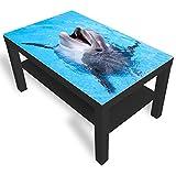 DekoGlas IKEA Table d'appoint en Verre avec Plateau en Verre Motif Dauphin