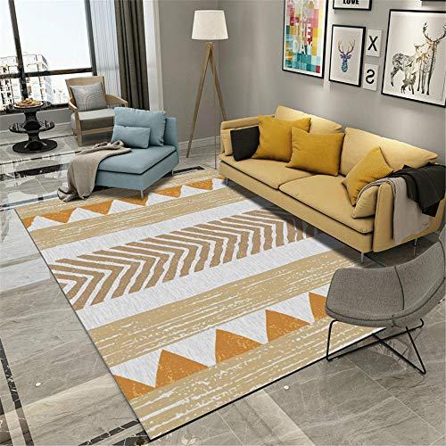 DJHWWD deurmatten, absorberend, personaliseerbaar, duurzaam, met geometrische strepen, oranje