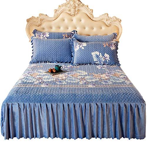 Falda de cama Falda de 3 piezas con estuche de almohada Estilo europeo Otoño e invierno Cubierta de cama gruesa cubierta de la cama de la cama, para la decoración de la habitación A, 150 * 200 cm Fald
