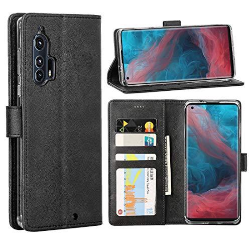 Redluckstar Motorola Edge Plus Case, Moto Edge+ Case, PU Leather Wallet Flip Cover [3 Card Slots 1 Money Pocket] [Magnetic Closure] [Stand] Shockproof Phone Case for Moto Edge+ (Black)