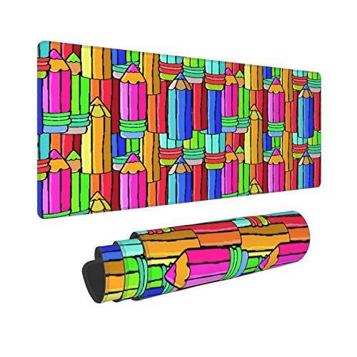 Extra Groß Mauspad mit Genähten Kanten,XL-75 x 40 x 0.3cm,Bunte Bleistifte,Schreibtisch Mat Personalisiert für Die Arbeit Spiel Büro Computer Laptop