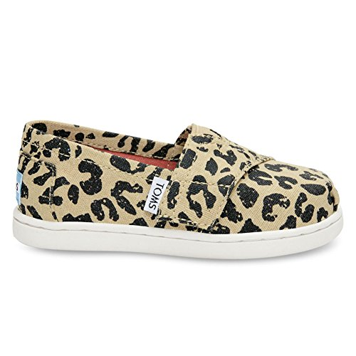 TOMS Toms Girl's Classic Linen Cheetah Metallic Ankle-High Flat Shoe - 5M