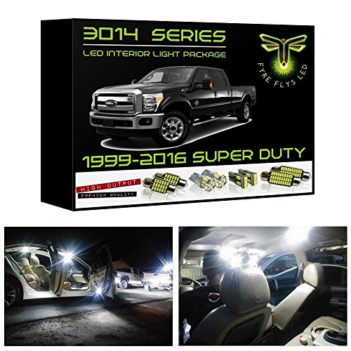 Fyre Flys White LED Interior Lights for 1999-2016 Ford F250 F350 Super Duty 14 Piece 6000K Super Bright 3014 Series SMD Package Kit and Install Tool