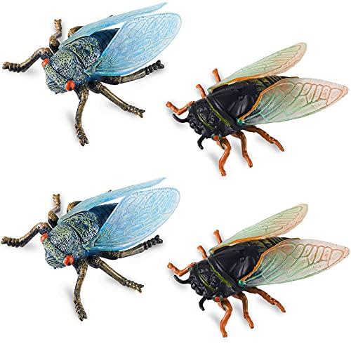 Zhanmai 4 Pieces Fake Cicada Toys Realistic Plastic Cicada Figurines Miniature Plastic Insect Figure...