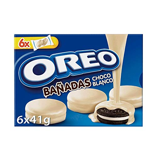 Oreo Bañadas - Galletas de Cacao Rellenas de Crema con Cobertura Sabor Chocolate Blanco - 6 Bolsitas, 246 g