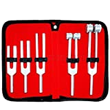 Tuning Fork Set of 5 for Nursing, Medical and Music Students (C128, C256, C512, C1024 & C2048) Zipper Case Included