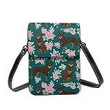 Bolsa de hombro pequeña con diseño de perro Kelpie australiano rojo y marrón Kelpie rosa verde Crossbody bolsa para teléfono celular monedero ligero Crossbody bolsos para mujeres y niñas