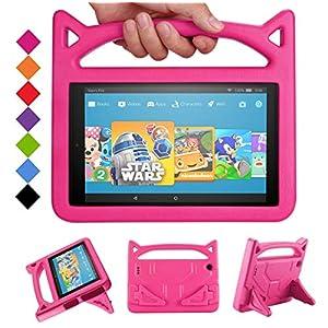 Amazon Kindle Fire HD10 ケース カバー 耐冲撃軽量コンバーチブルハンドルスタンドキッズフレンドリー カバー RIAOUR fire HD 10.1インチタブレット用(2015年および2017年発売) (ピンク)